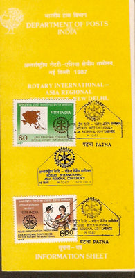 India 1987 Rotary International Phila-1093-4 Cancelled Folder