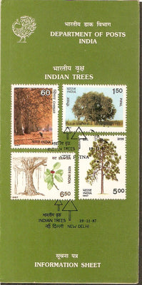 India 1987 Indian Trees Flora Plant Flower Phila-1104-07 Cancelled Folder