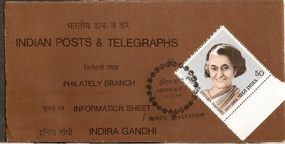 India 1984 Indira Gandhi Phila-985 Cancelled Folder