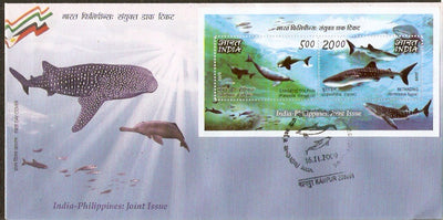 India 2009 Philippines Joints Issue Whale Dolphin Marine Life M/s on FDC