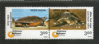 India 2000 Endengered Species Turtle Marine Life Phila-1744 Se-tenant Pair MNH