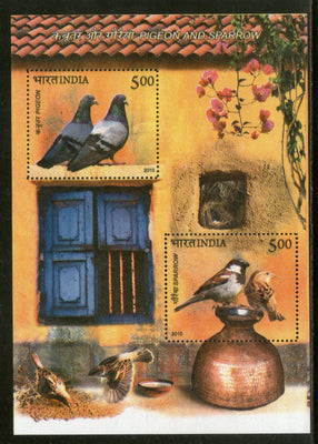 India 2010 Pigeons & House Sparrow Birds Animals M/s MNH
