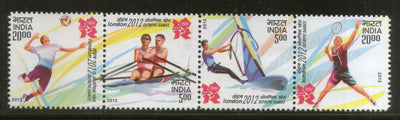 India 2012 Olympic Games Rowing Volleyball Badminton Sport Sc 2585 Se-Tenant MNH