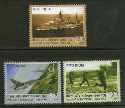 India 2015 1965 India Pakistan War Navy Air Force Ship Military 3v MNH