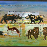 India 2015 Africa Forum Lion Rhino Gazelle Wildlife Innovative Foil M/s MNH