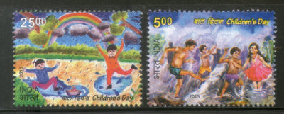India 2015 Children's Day Art Painting Rainbow Dance 2v MNH