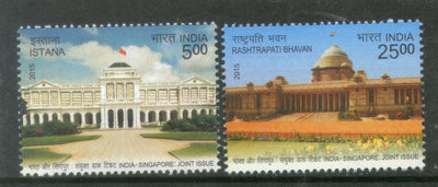 India 2015 India Singapore Joint Issue Istana Rashtrapati Bhavan Flag 2v MNH