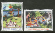 India 2016 Children's Day Art Painting Picnic 2v Set MNH