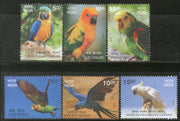 India 2016 Exotic Birds Parrots Blue Throated Macaw Wildlife Fauna 6v Set MNH