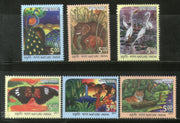 India 2017 Nature India Tiger Elephant Bird Butterfly Deer Animals 6v MNH - Phil India Stamps