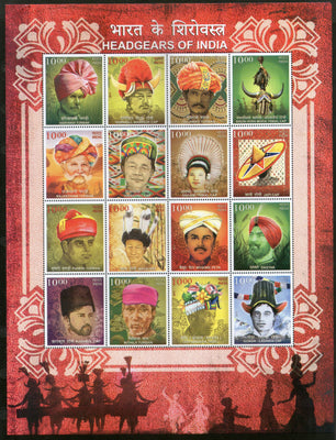 India 2017 Headgears of India Regional Caps Costume Culture Sheetlet of 16 MNH - Phil India Stamps