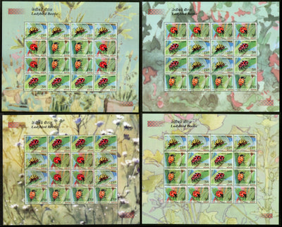 India 2017 Ladybird Beetle Insect Animals Wildlife Fauna Set of 4 Diff Sheetlets MNH