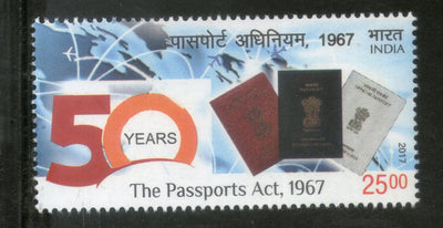 India 2017 Indian Passports Act 1967 1v MNH - Phil India Stamps