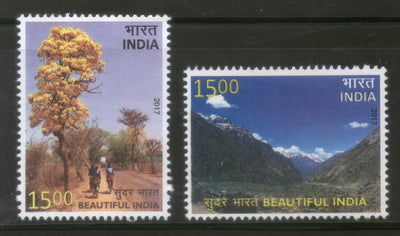 India 2017 Beautiful India Taj Mahal Mountains Flowers Tree Nature 2v MNH - Phil India Stamps