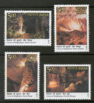 India 2017 Caves of Meghalaya Rock Mountain Nature 4v MNH - Phil India Stamps