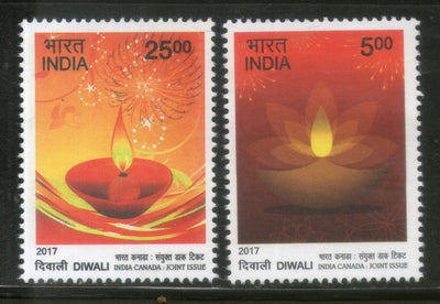 India 2017 Hindu Festival of Lights Diwali Joints Issue with Canada 2v MNH - Phil India Stamps