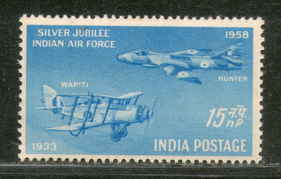 India 1958 Indian Air Force Silver Jubilee Aeroplane Phila-332 MNH