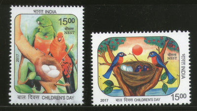 India 2017 Children's Day Paintings Nest Egg Birds Parrot Wildlife 2v MNH - Phil India Stamps