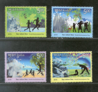 India 2018 World Environment Day Nature Health Yoga Fitness 4v MNH - Phil India Stamps