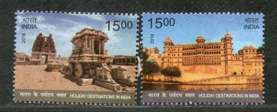 India 2018 Holiday Destinations City Palace Udaipur Stone Chariot Hampi 2v MNH