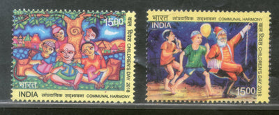 India 2018 Children's Day Communal Harmony Clown Joker Painting 2v MNH