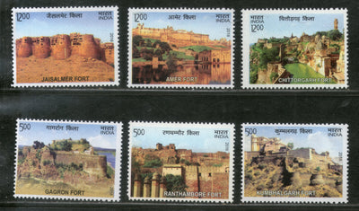 India 2018 Hill Forts of Rajasthan Tourism Place Architecture 6v Set MNH