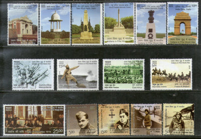 India 2019 Indians in 1st World War Battle Field Memorials Aviation Military 15v MNH