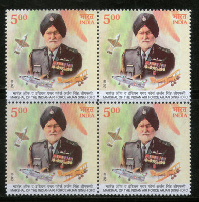 India 2019 Air Force Marshal Arjan Singh DFC Sikhism BLK/4 MNH