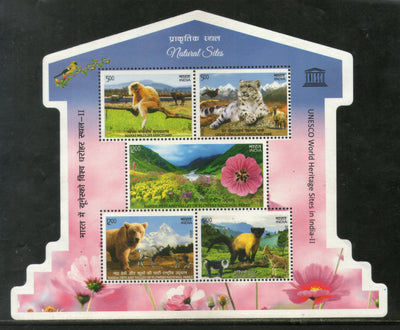 India 2020 UNESCO World Heritage Site Wildlife Animals Tiger Langur Monkey Bear Flowers Odd Shape M/s MNH