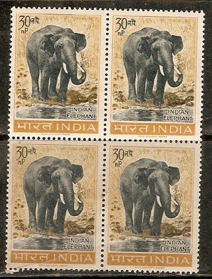 India 1963 Wildlife Indian Elephant Phila-390 BLK/4 MNH Animal Mammal