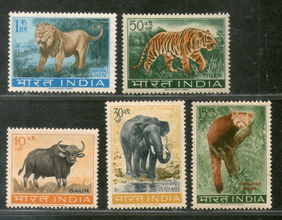 India 1963 Wildlife Preservation Tiger Elephant Lion Panda Animals Phila 392a MNH