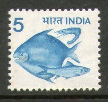 India 1979 6th Def. Series- 5p Fish WMK STAR & GOI 1v Phila-D112/SG 918 MNH - Phil India Stamps