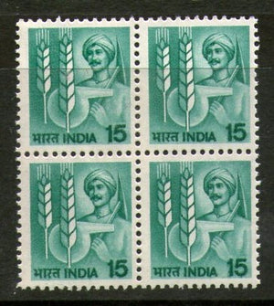 India 1982 6th Def. Series-15p Agriculture WMK To Left BLK/4 Phila-D118/SG923a MNH - Phil India Stamps