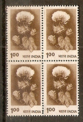 India 1979 100p Hybrid Cotton Definiti. Series Phila-D125 Blk/4 MNH - Phil India Stamps