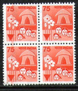India 1990 Family Planning 7th Def.Series WMK Up Right Phila-D148/Sg1214a BLK/4 - Phil India Stamps