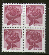 India 2000 9th Def. Series Nature Heritage - Rose BLK/4 Phila-D163/Sg1925a MNH - Phil India Stamps