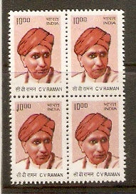 India 2009 10th Def. Builders of Modern India C V Raman BLK/4 Phila-D180/Sg2538 MNH - Phil India Stamps