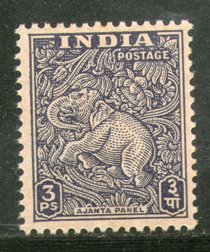 India 1949 3p Elephant Motif Ajanta Caves 1st Definitive Series 1v Phila- D1 MNH - Phil India Stamps