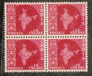 India 1957 13p Map WMK-STAR BLK/4 Phila-D45 Cat 100 MNH - Phil India Stamps