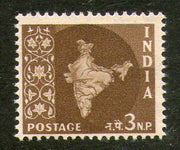 India 1958 3rd Definitive Series - 3np Map WMK Ashokan Phila-D54 / SG 401 1v MNH - Phil India Stamps