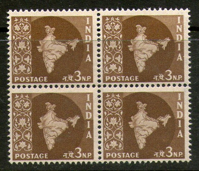 India 1958 3rd Definitive Series - 3np Map WMK Ashokan BLK/4 Phila-D54 / SG 401 MNH - Phil India Stamps