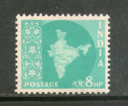 India 1958 8p Map of India Definitive Series Ashokan Phila-D57 1v MNH - Phil India Stamps