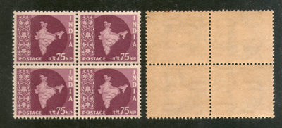India 1959 75p Map 3rd Def. Series WMK- Ashokan Phila-D64 BLK/4 MNH - Phil India Stamps