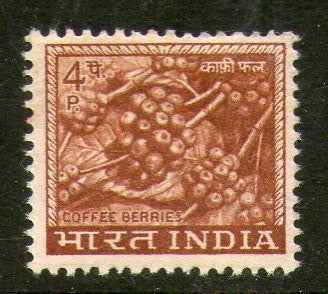 India 1968 4th Def. Series 4p Coffee WMK Up Right Phila-D72/ SG 505a 1v MNH - Phil India Stamps