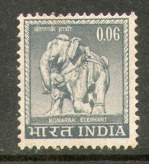 India 1966 4th Def. Series 6p Konark Elephant WMK To Left Phila-D74/ SG 507 1v MNH - Phil India Stamps