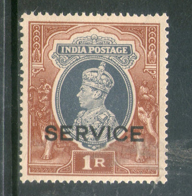 India 1937 King George VI 1 Re Service Postage Stamp Phila-S146 1v MNH - Phil India Stamps