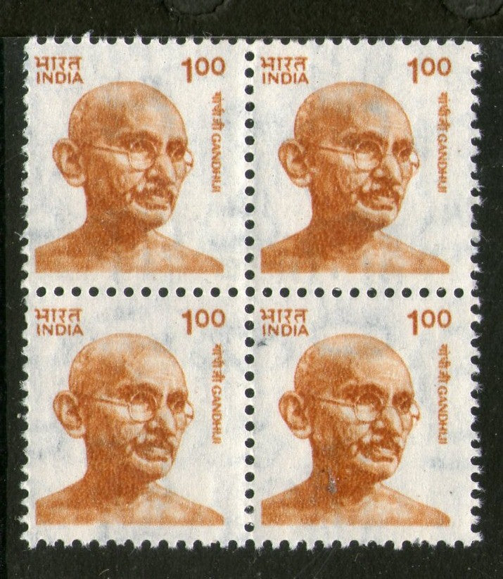 India 1991 Def. Series -1Re Mahatma Gandhi in BLK/4 Phila-D144 MNH - Phil India Stamps