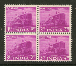 India 1955 2nd Definitive Series Five Year Plan - 3p Tractor BLK/4 Phila-D20 MNH - Phil India Stamps