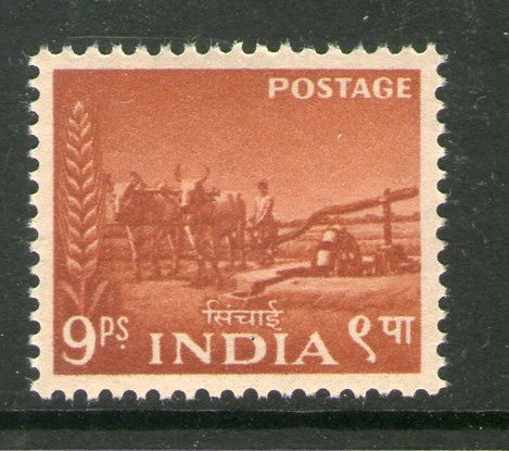India 1955 2nd Definitive Series Five Year Plan - 9p Water Irrigation Phila-D22 1v MNH - Phil India Stamps