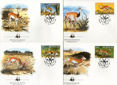 Senegal 1986 WWF Dama Gazelle Antelope Deer Wildlife Animal Mammals Fauna 4 FDCs # 36 - Phil India Stamps